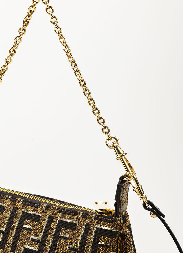 "Fendi Brown and Gold Metallic Canvas ""Mini Zucca Chain Crossbody"" Bag Detail 2"