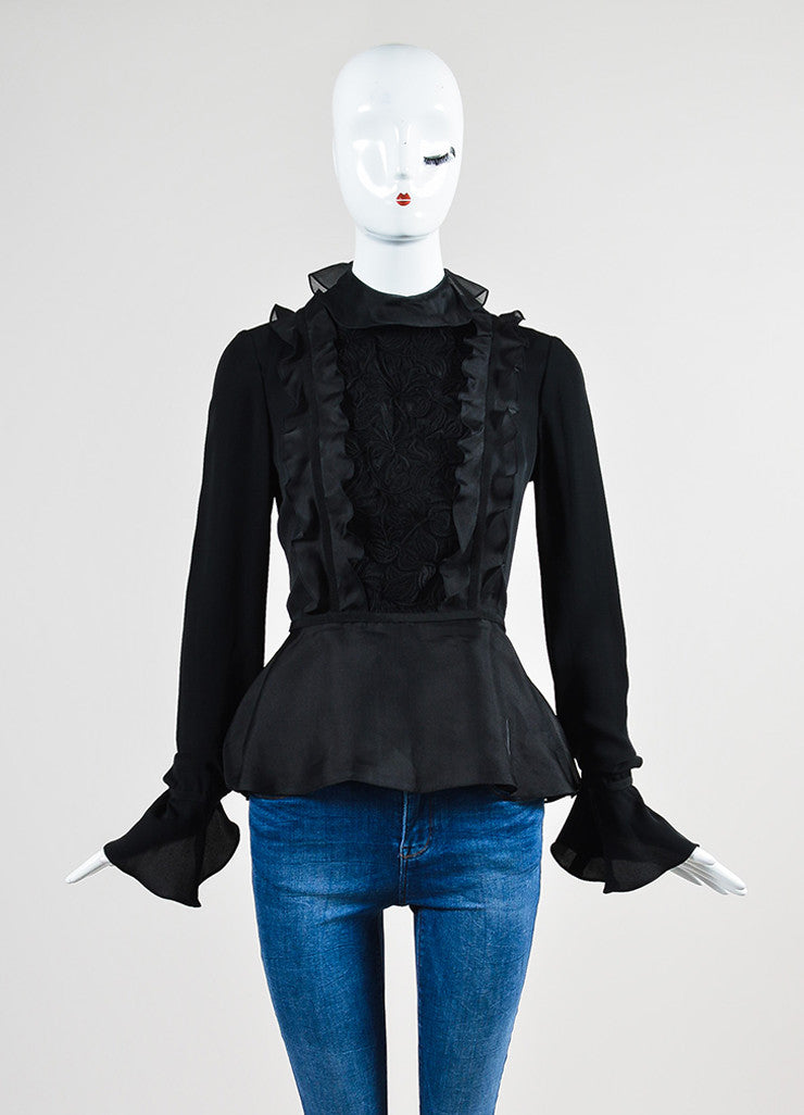 Black Giambattista Valli Silk Embroidered Mesh Ruffle Trim Top Frontview