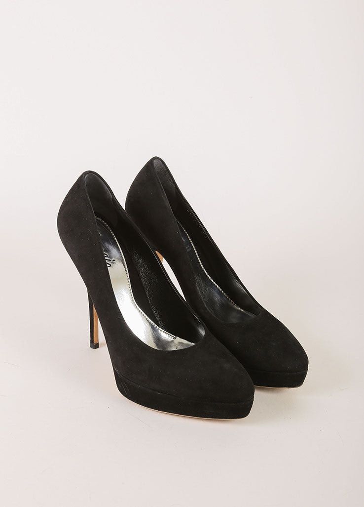 Gucci Black Suede Leather Pointed Toe Platform Pumps Frontview