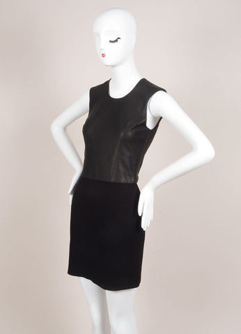 HELMUT Helmut Lang New With Tags Black Leather Knit Contrast Sleeveless Dress Sideview