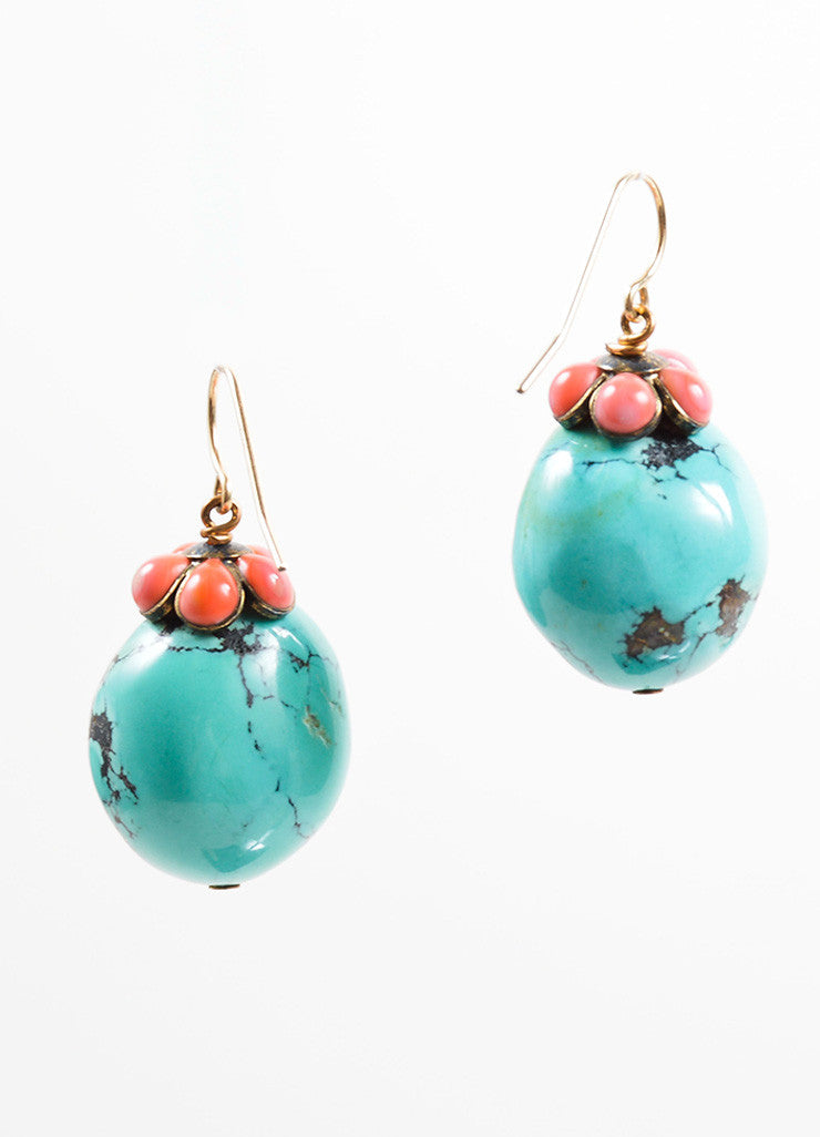 Irene Neuwirth Turquoise Blue, Coral Pink, and 14K Gold Stone Embellished Earrings Backview