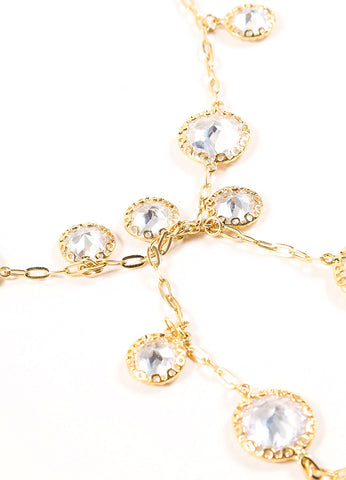 Jarin Gold Toned Rhinestone Embellished Long Lariat Tie Necklace Detail
