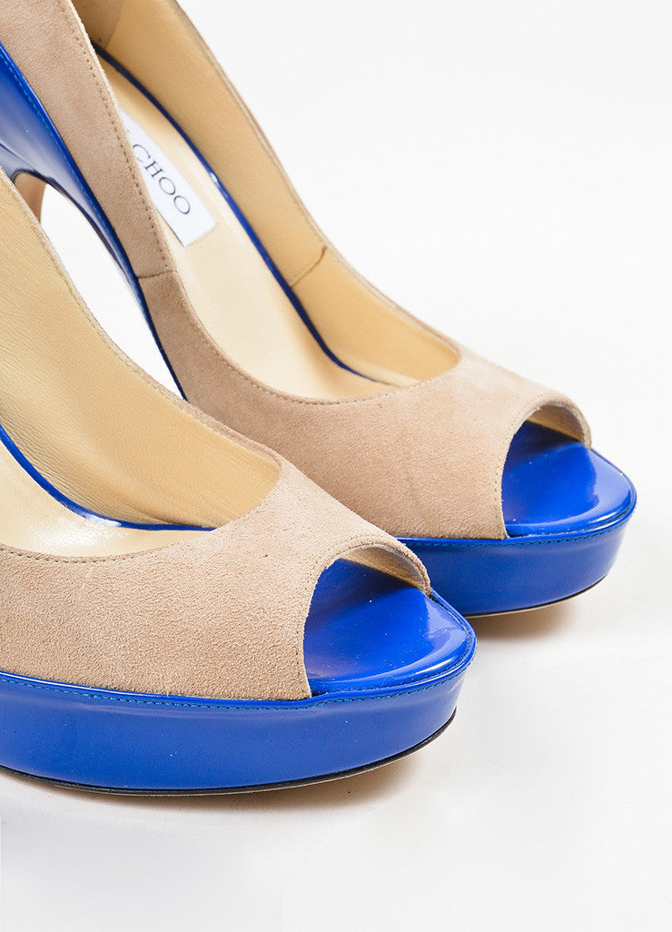 "Blue and Tan Jimmy Choo Suede Patent Color Block Peep Toe ""Tami"" Pumps Detail"