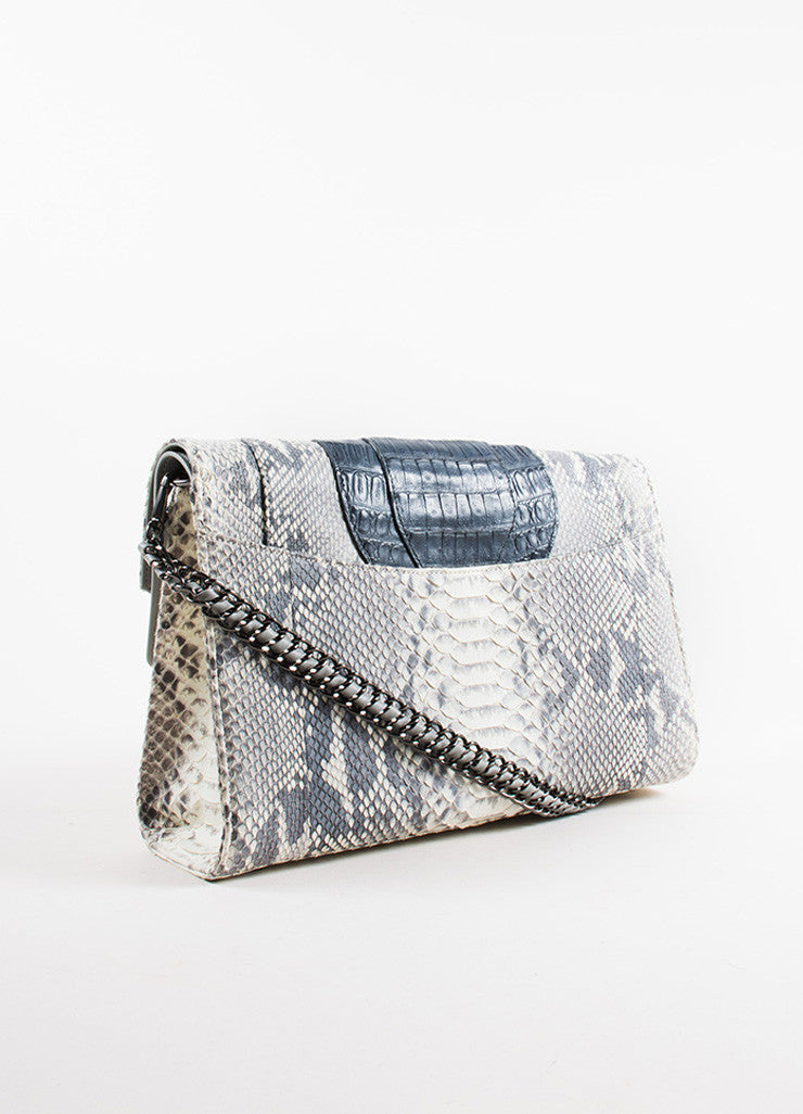 Khirma Eliazov Herzog Grey Python and Crocodile Convertible Clutch Bag Backview
