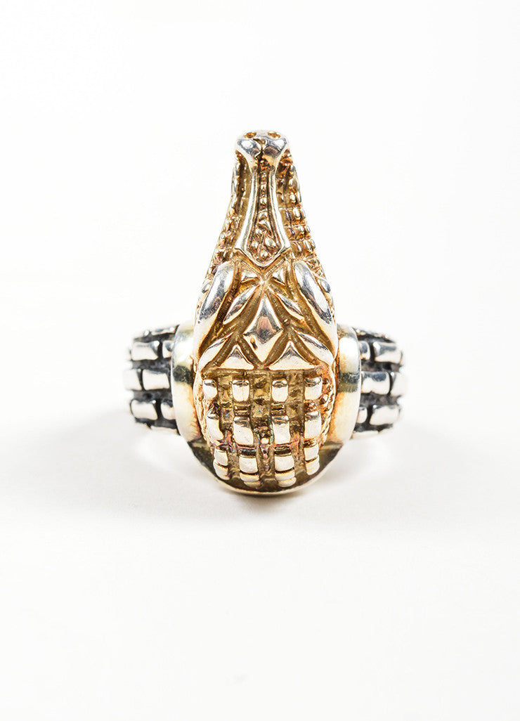 Barry Kieselstein-Cord 14K Yellow Gold and Sterling Silver Alligator Head Ring Frontview
