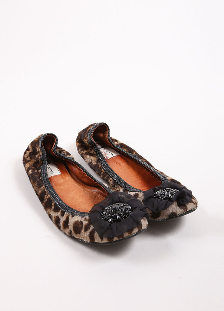 Lanvin Black and Brown Pony Hair Leopard Print Embellished Elastic Flats Frontview