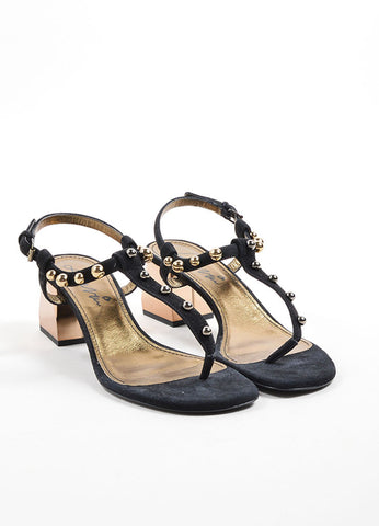Lanvin Black and Gold Toned Suede Studded Chunky Heel Thong Sandals Frontview