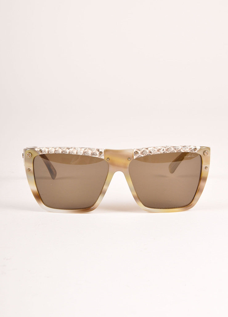 "Lanvin New With Tags Cream and Brown Snakeskin Plastic ""SLN 501"" Shield Sunglasses Frontview"