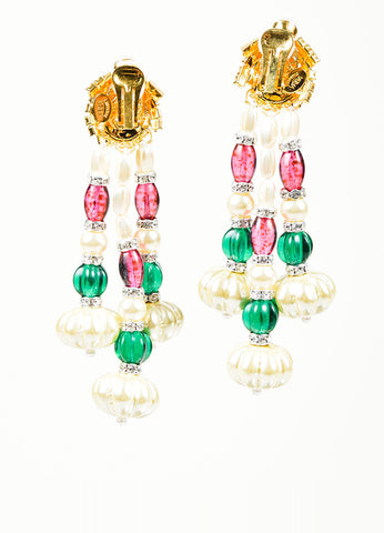 Faux Pearl Lawrence VRBA Multicolor Bead Earrings Back