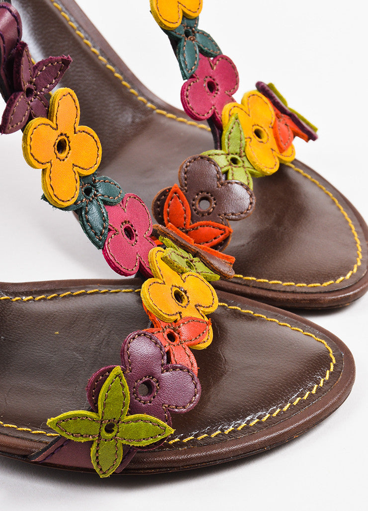 Louis Vuitton Brown Multicolor Leather Flower Sandal Heels Detail