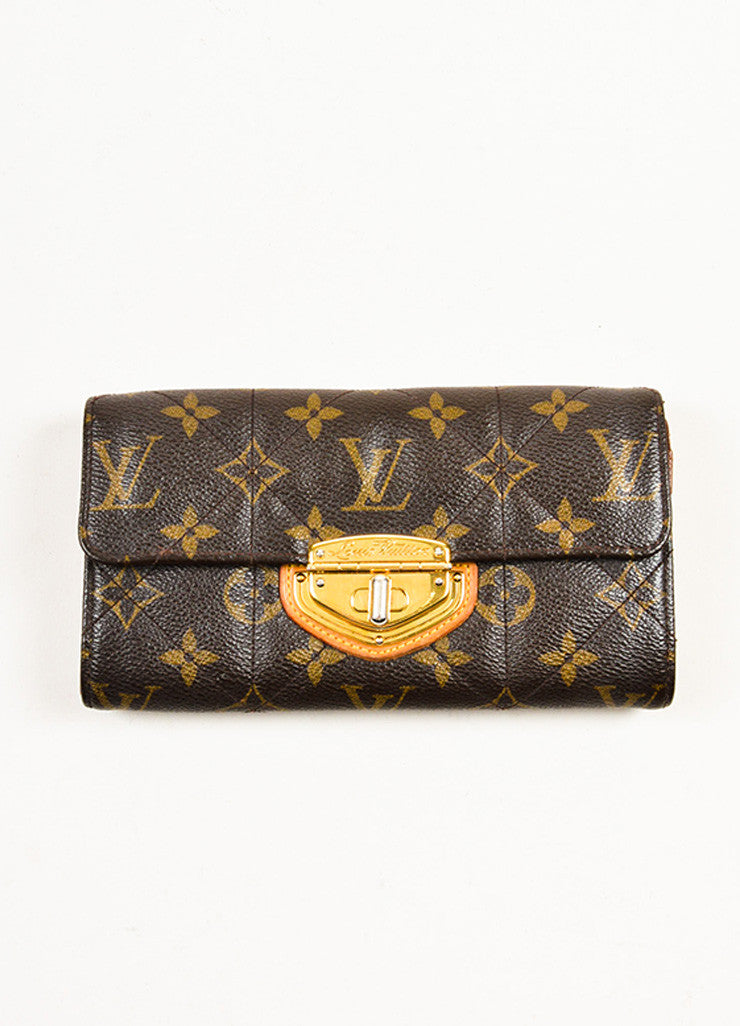 "Louis Vuitton Brown and Tan Coated Canvas and Leather Monogram ""Etoile Sarah"" Wallet Frontview"