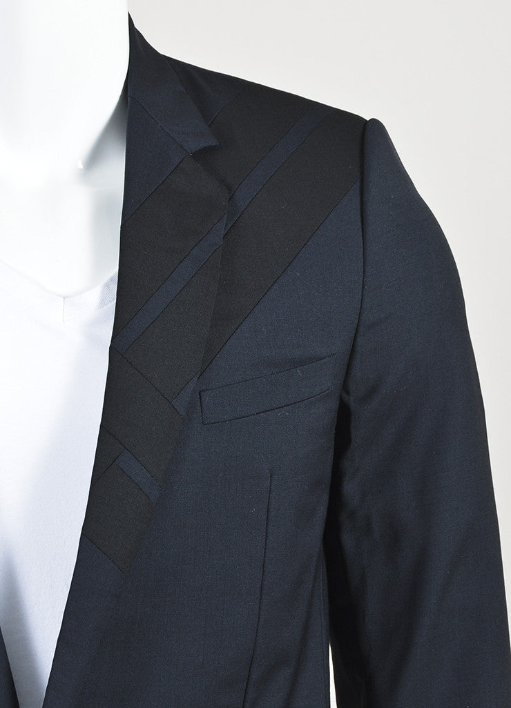 Men's Dolce & Gabbana Navy Blue Black Wool Geometric Panel Jacket Detail