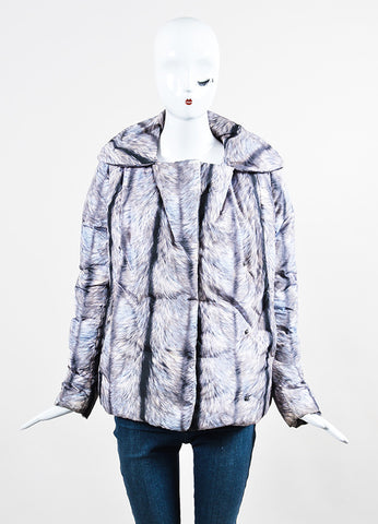 MM6 Maison Martin Margiela Grey and Black Fur Double Breasted Down Puffer Coat Frontview 2