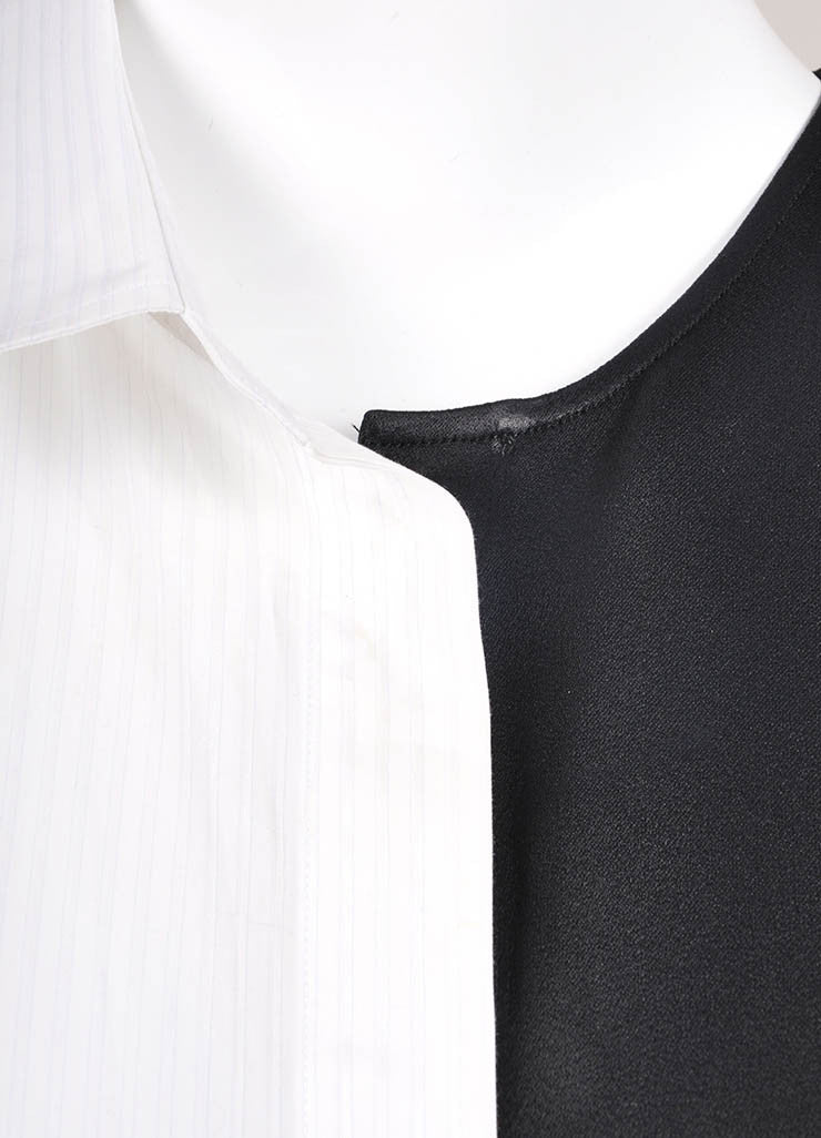 Maison Martin Margiela Black and White Poplin Satin One Sleeve Tunic Dress Detail