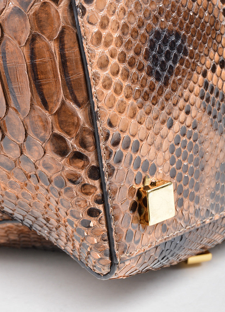 "Michael Kors Brown Python Leather ""Miranda"" Tote Bag Detail"