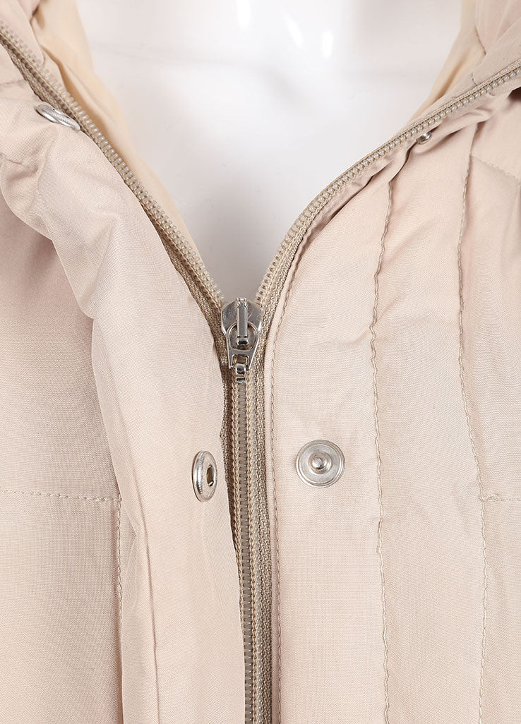 Moncler Tan Down Filled Quilted Removable Hood Full Length Long Sleeve Coat Detail