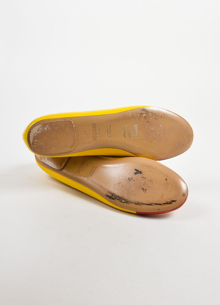 Yellow and Red Leather Moschino Fast Food Cap Toe Flats Outsoles