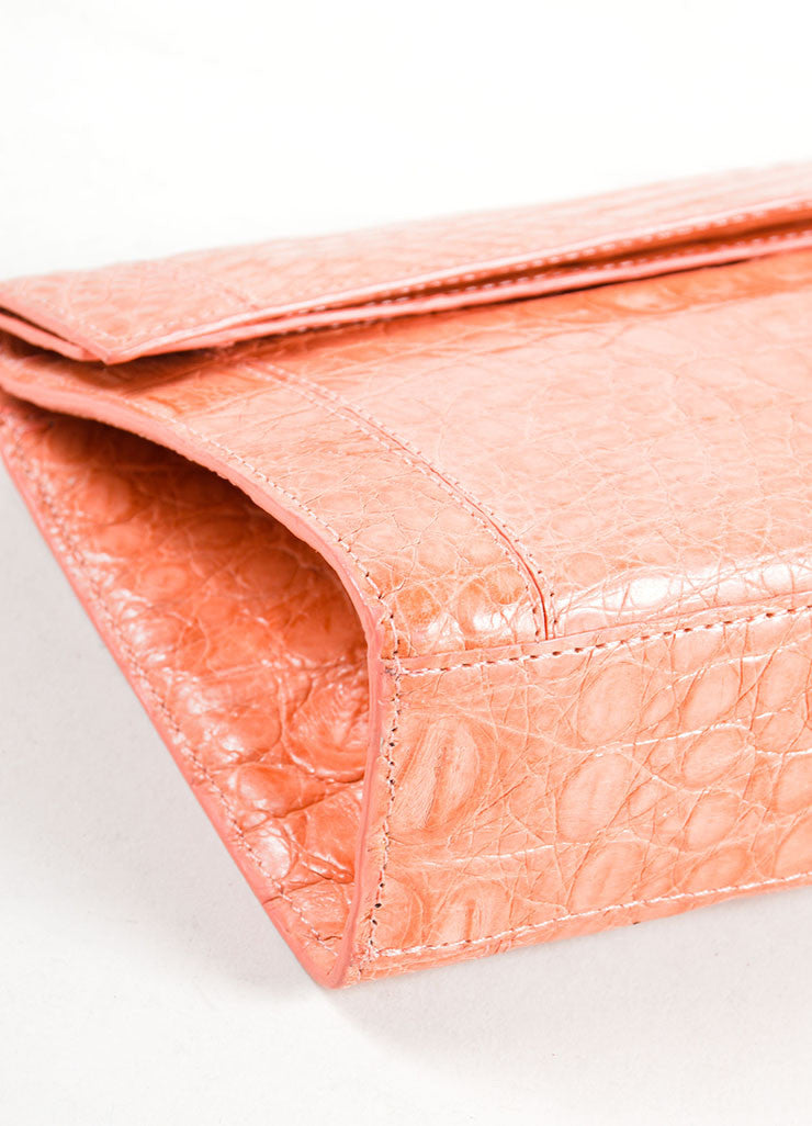 Nancy Gonzalez Peach Pink Crocodile Leather Rectangle Flap Clutch Detail