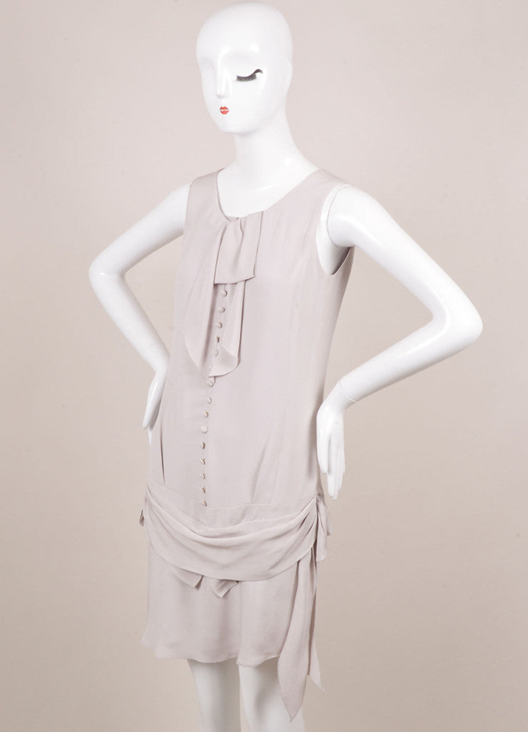 Nina Ricci Grey Draped Button Detail Sleeveless Dress Sideview