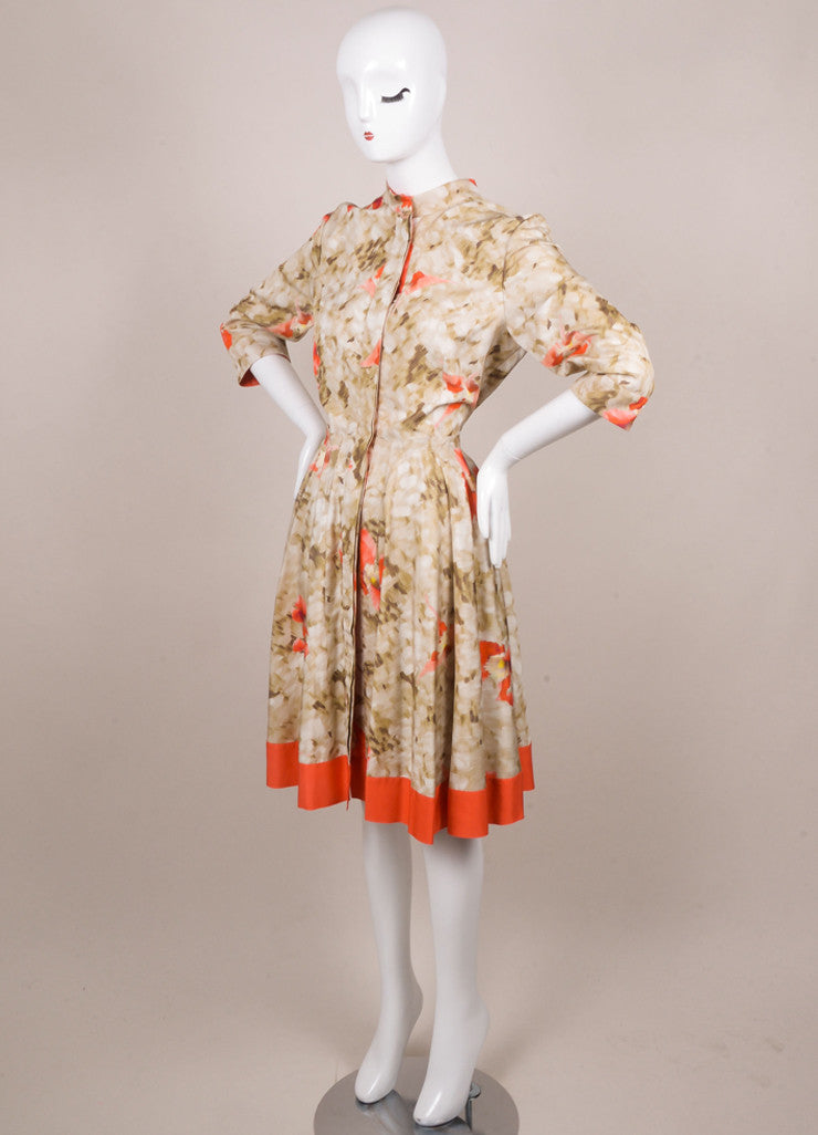 Oscar de la Renta Green and Coral Silk Floral Print Button Down Dress Sideview