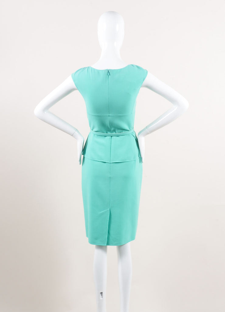 Oscar de la Renta New With Tags Turquoise Wool Peplum Belted Sleeveless Sheath Dress Backview