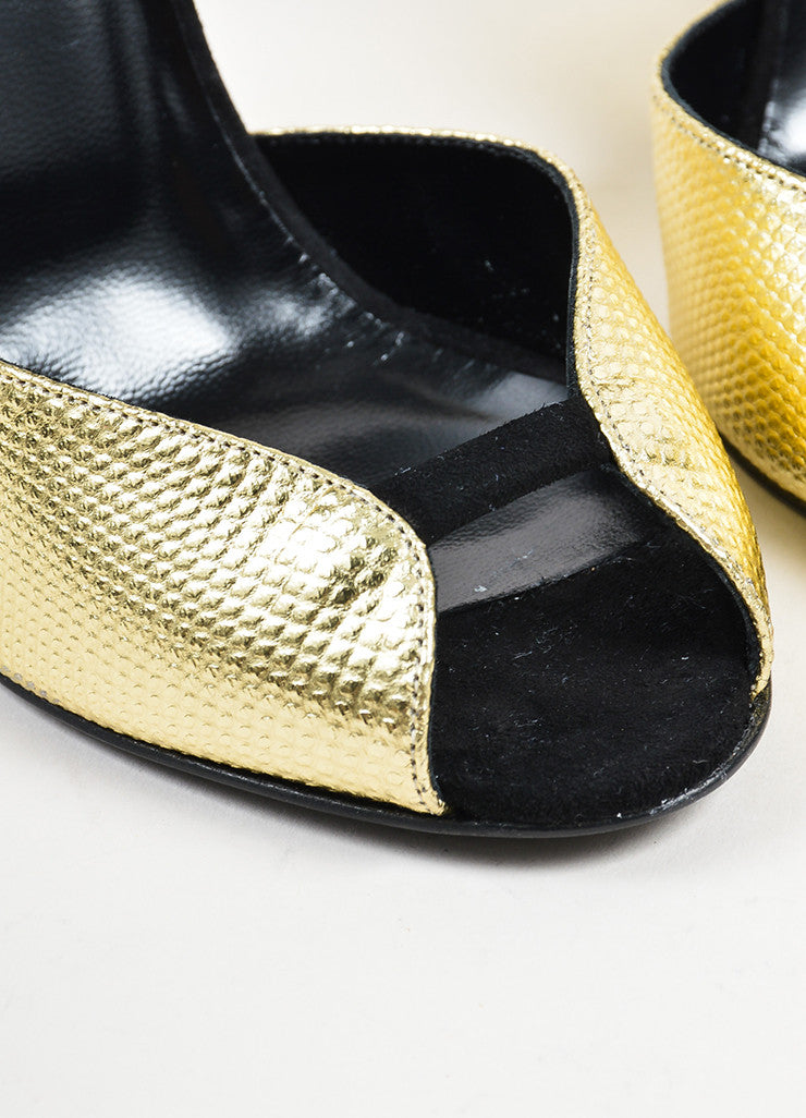 "Gold Metallic and Black Pierre Hardy ""Amanda"" Cut Out Wedge Heels Detail"