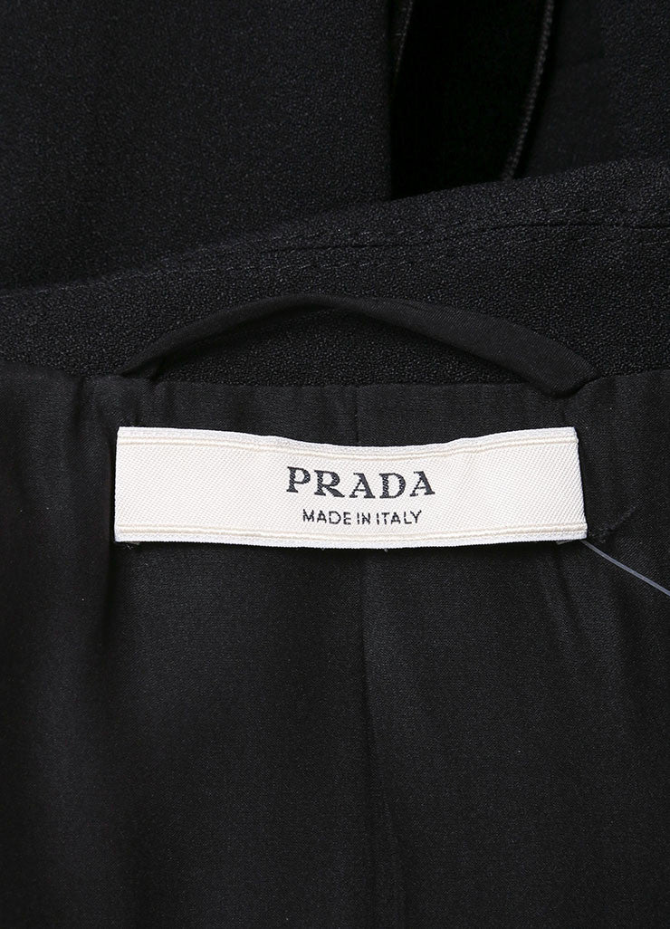 Prada Black Velvet Waist Trim Long Sleeve Snap Button Wool Blazer Jacket Brand