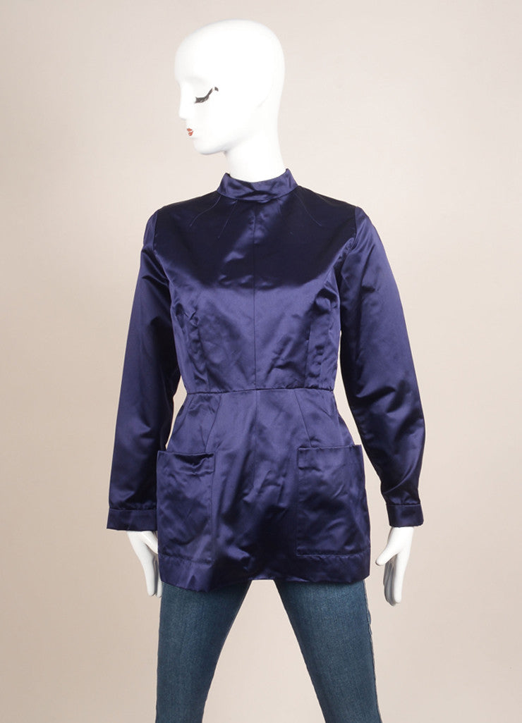 Prada New With Tags Navy Silk Satin Pleated Button Down Long Sleeve Top Frontview