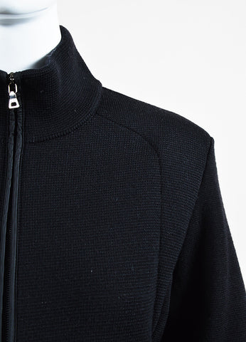 Prada Sport Black Wool Waffle Knit Zip Up Long Sleeve Fitted Jacket