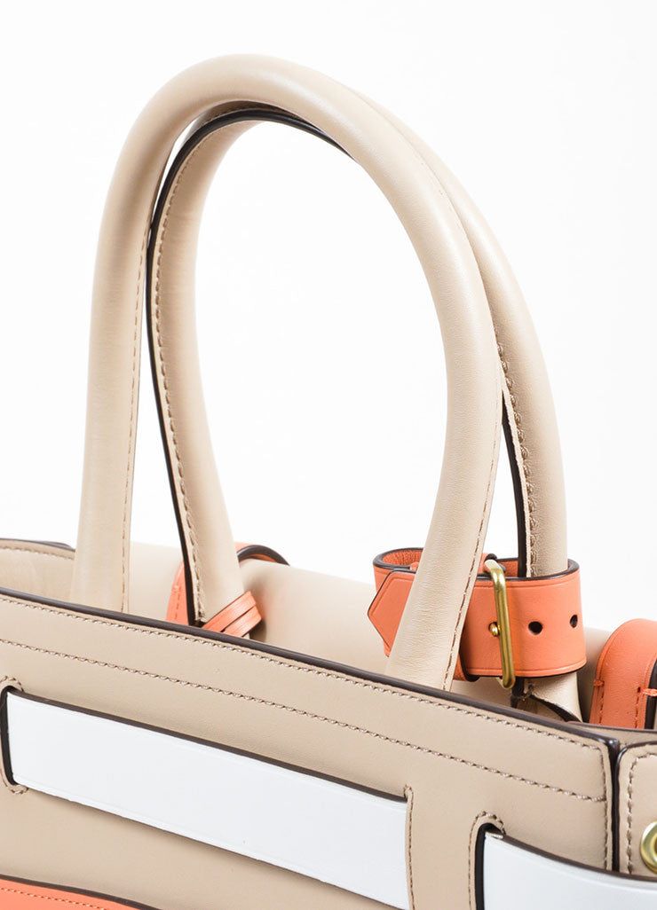 "Reed Krakoff White, Beige, and Coral Leather Colorblock ""Boxer"" Tote Bag Detail 2"