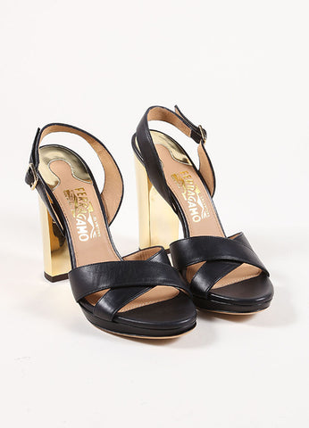 Salvatore Ferragamo Black Chunky Heel Strappy Sandals Front