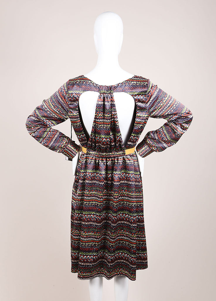 Thankoon New With Tags Navy, Brown, and White Graphic Print Cut Out Long Sleeve Dress Backview