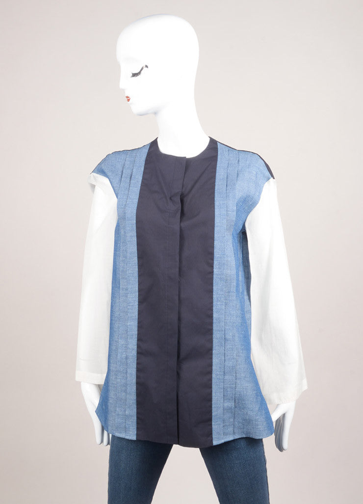 "The Row New With Tags Blue, Navy, and Cream Cotton and Linen Oversized ""Tori"" Blouse Frontview"