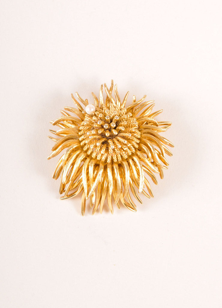 Boucher Gold Toned and Faux Pearl Flower Pin Frontview