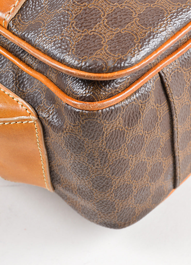 Celine Brown and Tan Coated Canvas and Leather Macadam Printed Messenger Bag Detail