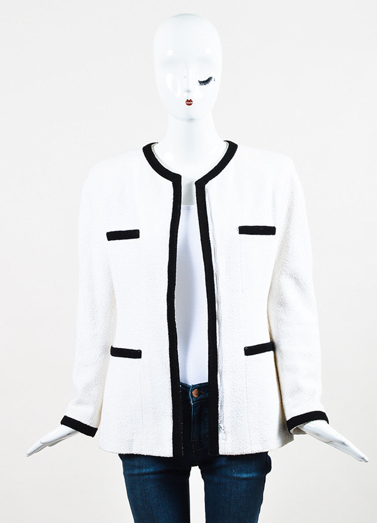 Chanel Black and White Cotton Boucle Woven Trim Jacket Frontview