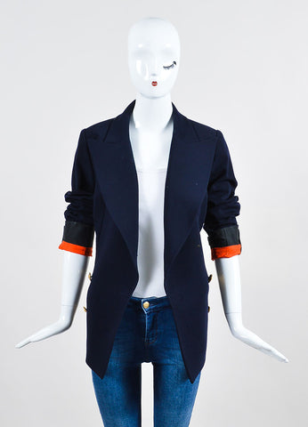 Chanel Navy Gold Toned Wool 'CC' Double Breasted Jacket Frontview