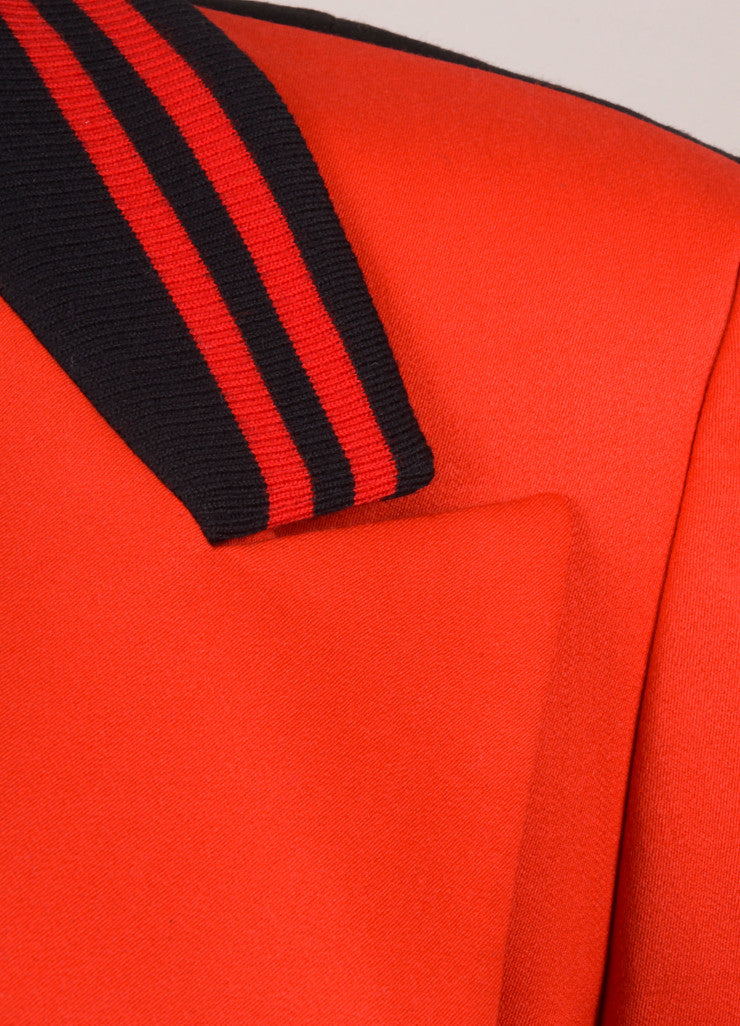 Escada Red and Black Wool Double Breasted Blazer Jacket Detail