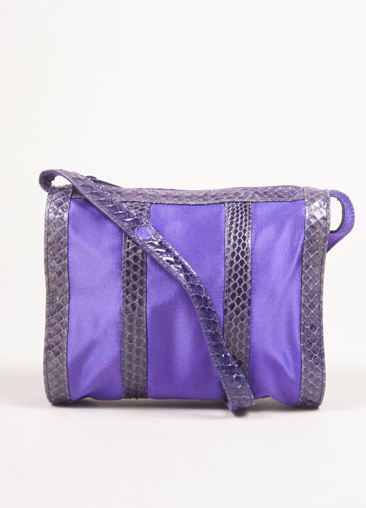 Fendi Purple and Grey Satin and Snakeskin Leather Zip Shoulder Bag Frontview