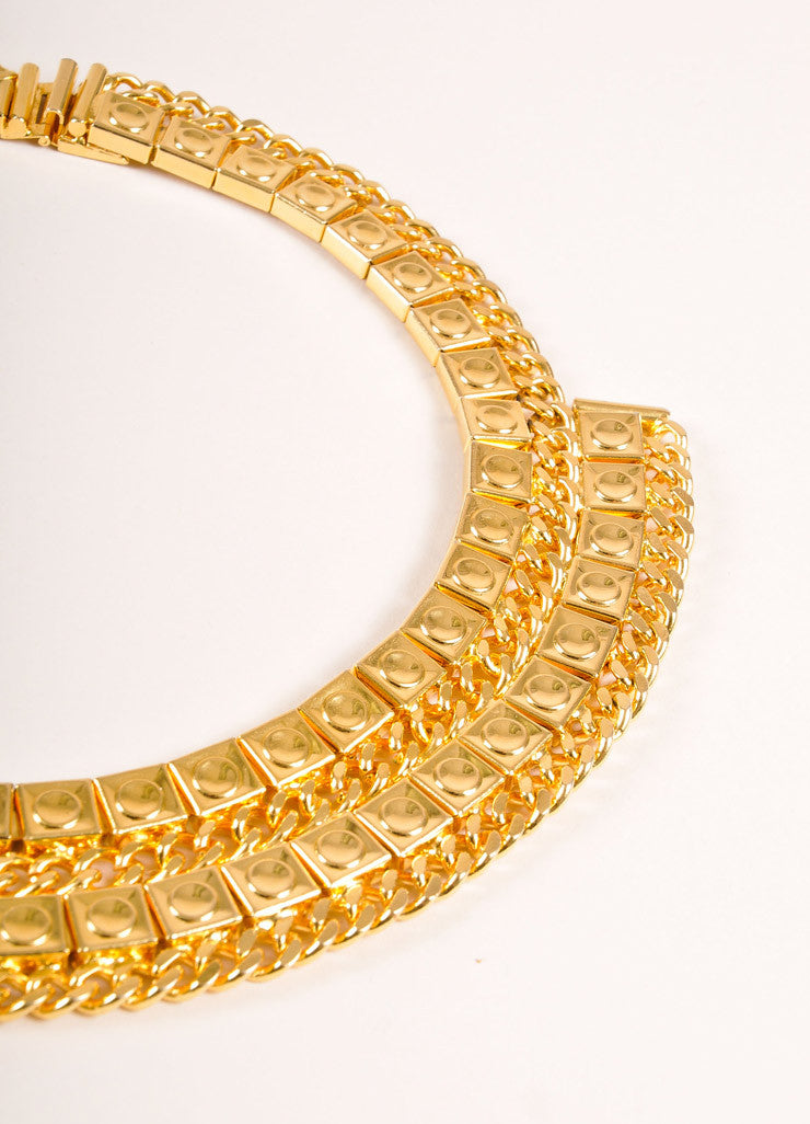 Vintage Gold Toned Geometric Square and Curb Chain Statement Bib Necklace Detail