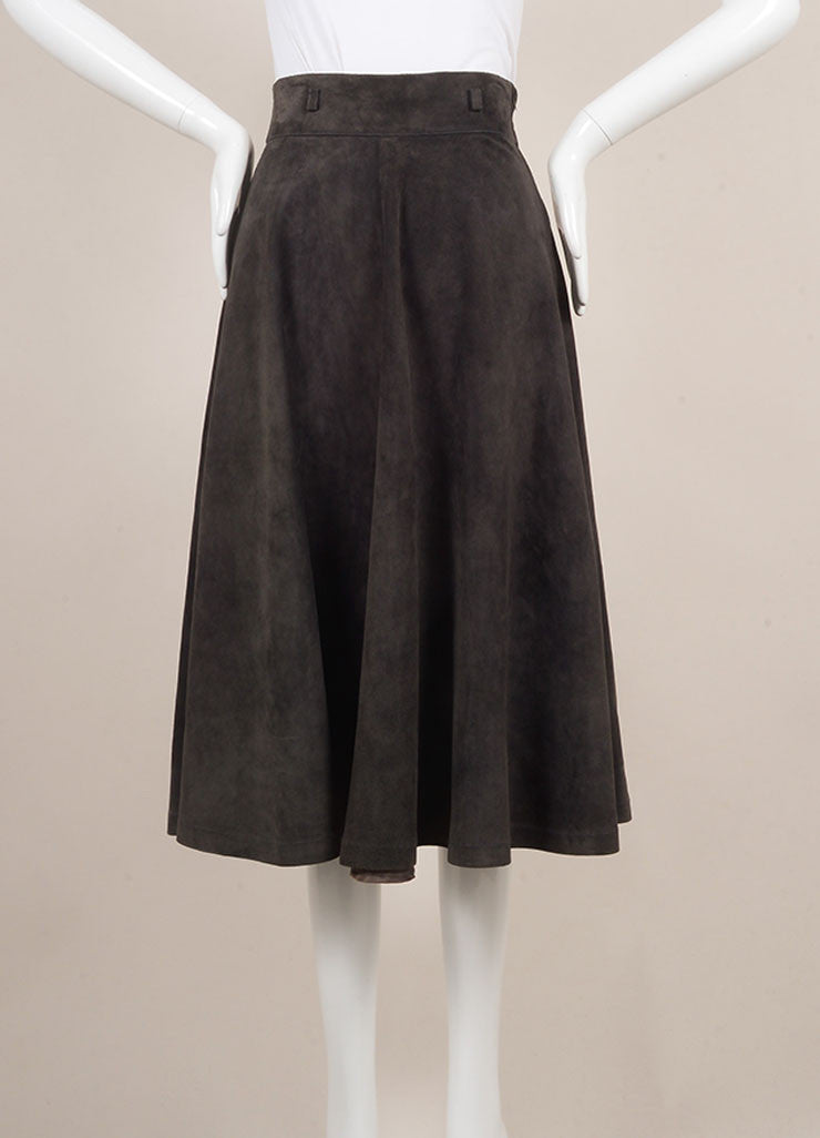 Gucci Grey Suede Full Midi Skirt Frontview