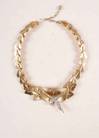 Marcel Boucher Gold Toned and Silver Toned Rhinestone Leaf Choker Necklace Frontview