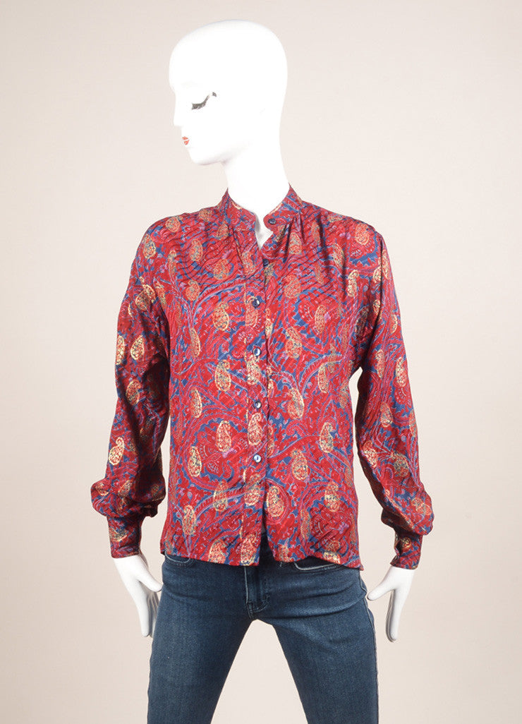 Saint Laurent Maroon, Blue, and Gold Paisley Button Down Blouse Frontview