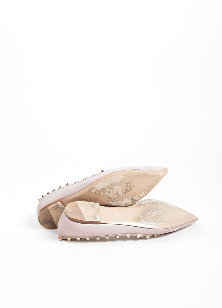 Blush Leather Valentino Rockstud Pointed Toe Flats Outsoles