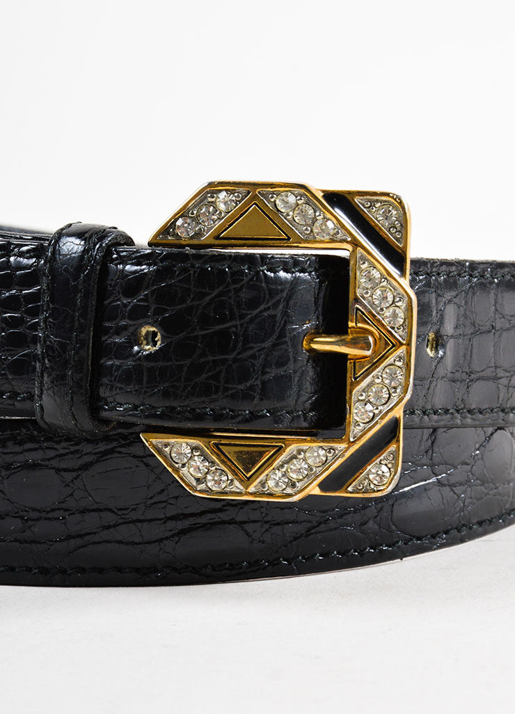 Black Valentino Alligator Leather Rhinestone Buckle Belt Detail 2