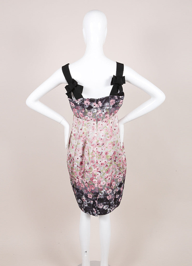 Valentino Black, Pink, and Grey Floral Print Ribbon Strap Empire Waist Sheath Dress Backview
