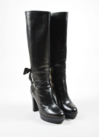 Black Valentino Garavani Leather Corset Detail Heeled Lug Sole Tall Boots Frontview