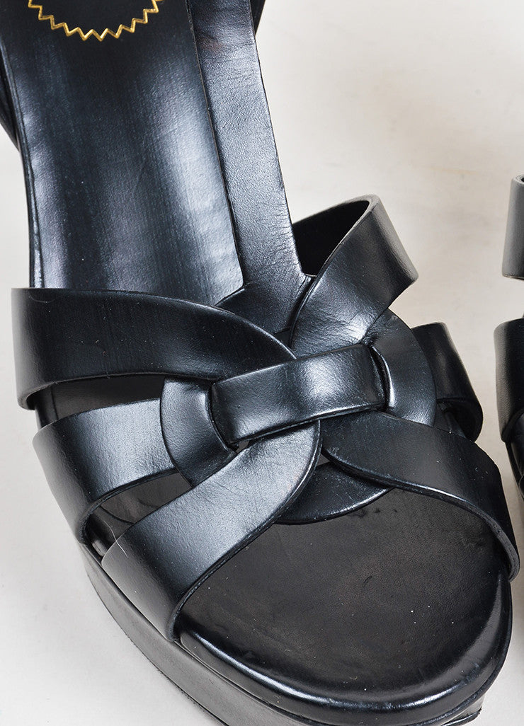 "Black Yves Saint Laurent Leather High Heeled ""Tribute"" Sandals Detail"