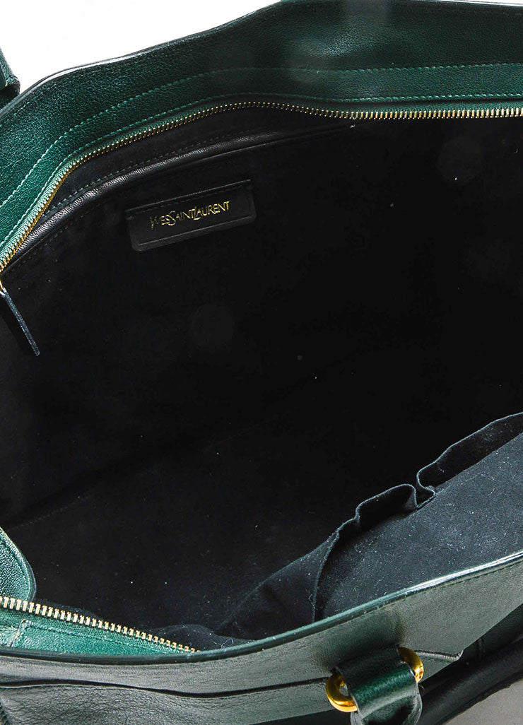 "Yves Saint Laurent Dark Green Gold Hardware ""Medium Cabas Chyc"" Bag Interior"