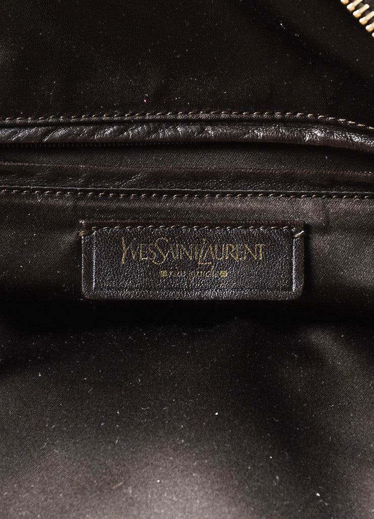 "Yves Saint Laurent Rive Gauche Brown Leather 'Y' Stitch ""Large Muse"" Tote Bag Brand"